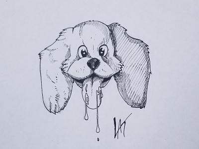 Inktober 2018 - Day 6 - Drooling puppy inktober2018 inktober illustration