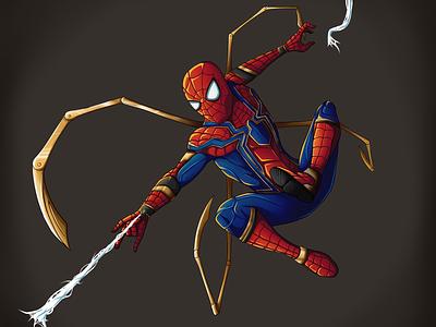 SPIDER MAN - IRON SPIDER infinitywar avengers digitalartist digitalart digital tom holland iron spider super hero artwork artist art spiderman illustration