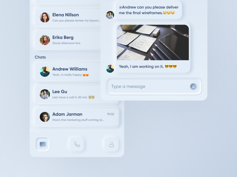 Skeuomorph Version of a Chat App (Inspired by Skype) skeuomorphism designs skeuomorphic app design skeuomorphic mobile app skype live chat 2020 trends best design user experience user interface daily ui challenge skeumorphic ui skeumorphic mobile ui neomorphic ui mobile ui mobile live chat app chat app neomorphism skeuomorph daily ui