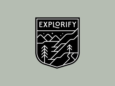 Explorify thicklines outdoors hike trail nature hills trees badge mountains explore