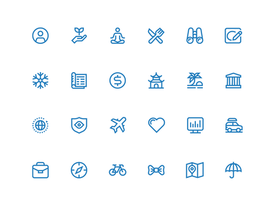 Inspiration Icons travelling glyphs small simple monoline categories inspiration ux ui icons travel