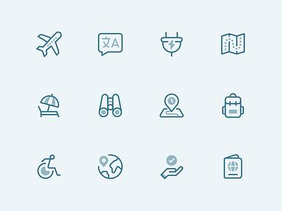 Icons x Travel icondesign linework twotone iconset iconfamily iconography ui travel illustration icon icons