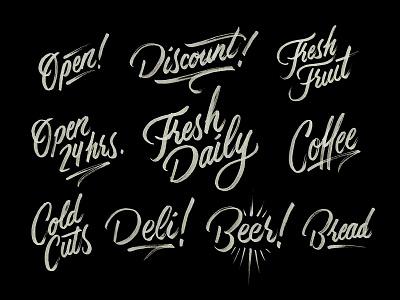 Local Market type market lettering typography script type hand brush deli