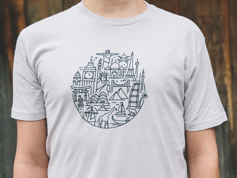 Lp world travel t shirt by jacob rhoades dribbble for T shirt printing api