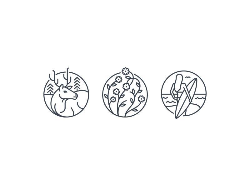 Circle Icons  stroke width mono break circle round icons surf flowers wild elk