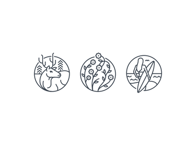 Circle Icons  stroke width mono break circle round icons surf flowers wild elk