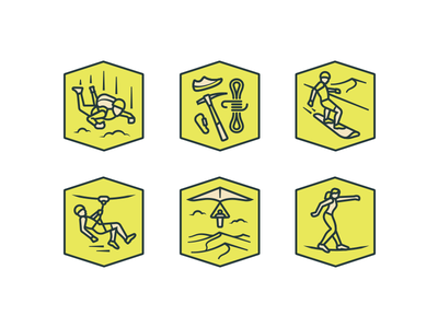 Adventure Icons cont. slackline gliding line zip duneboard climb skydive