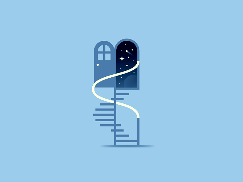 Stairway to the stars steps rail window door galaxy outerspace space spot illo staircase spiral stars