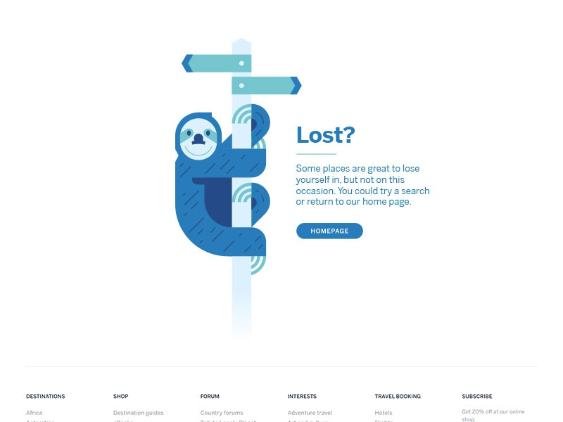 Slost? illustration travel state empty homepage climbing hanging crossroad lost sloth 404