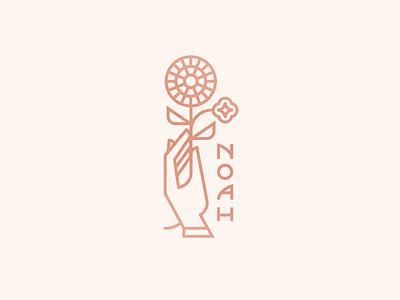 Noah flower illustration hand marigold flower logo