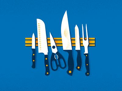 Chop Chop illustration shear cut magnet meat sushi scissors eat food chef knife