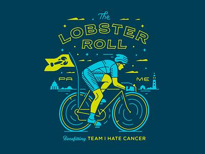 Lobster Roll lighthouse benefit cancer illustration cycle bike lobster