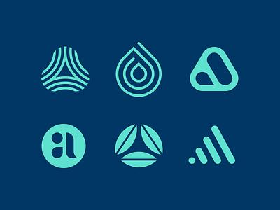 Aspire allergy marks drop breathe lettermark a logo