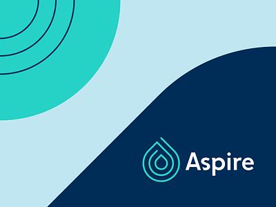 Aspire logotype mark palette pattern allergy air breathe droplet drop aspire logo