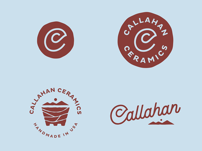 Callahan Ceramics script pottery mountains c marks logos lockups logotype ceramics
