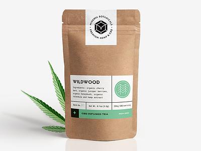 Minerva Botanicals Tea leaf paper pouch teapackaging cbd hemp botanicals label packaging tea