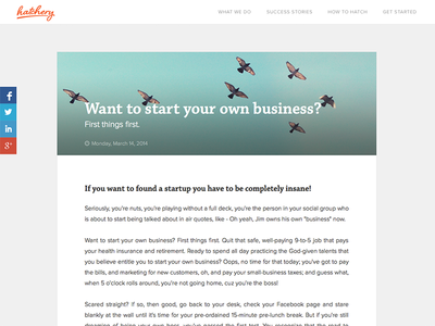 How to Hatch Blog Layout hatchery clean blog