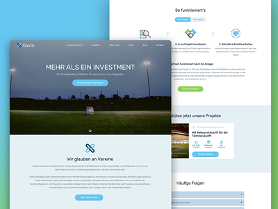 Xavin Webiste crowdfunding investment sports landingpage website