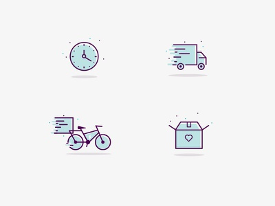 PaketPing Icons line bicycle e-bike truck icons time box paket delivery