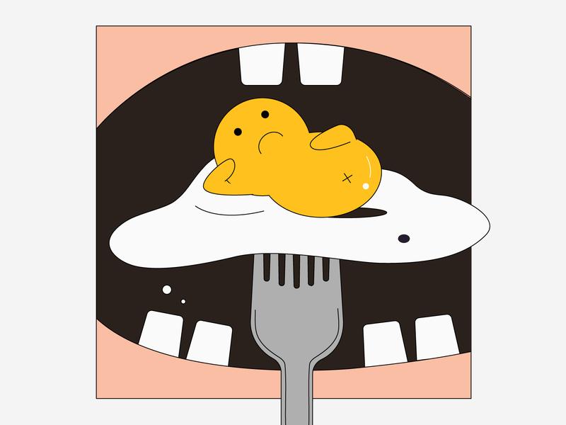 Twin Yolks- Ready? cute teeth mouth eaten eat humor character food illustration breakfast food yolk eggs egg graphics minimal flat design vector illustrator illustration