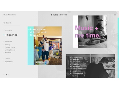 Music Feed tumblr website interactive web design