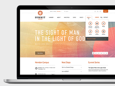 Summit Site web web design hover design specs ui complicated complex nav navigation orange icons church