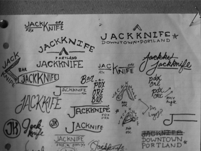 Jackknife Sketches: 1 sketch exploration custom typography simple illustration script jackknife portland oregon