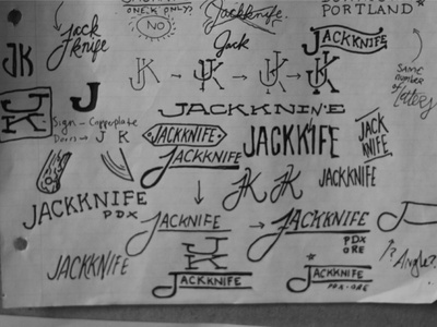 Jackknife Sketches: 2 sketch exploration custom typography simple illustration script jackknife portland oregon