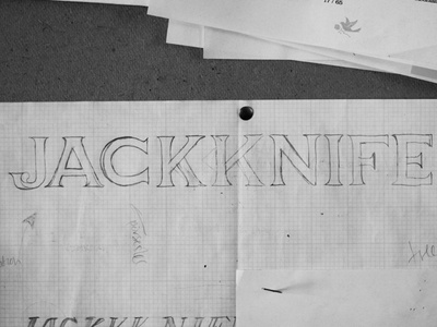 Jackknife Sketches: 3 sketch exploration custom typography simple illustration script jackknife portland oregon
