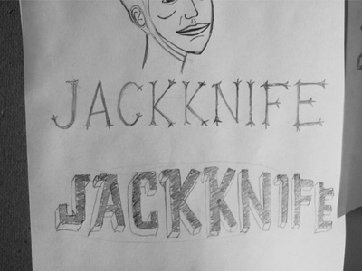 Jackknife Sketches: 6 sketch exploration custom typography simple illustration script jackknife portland oregon