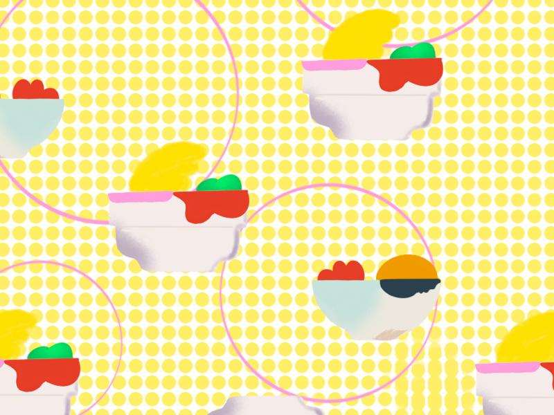 All set! 🍌🍏🍊 illustration pattern colourful