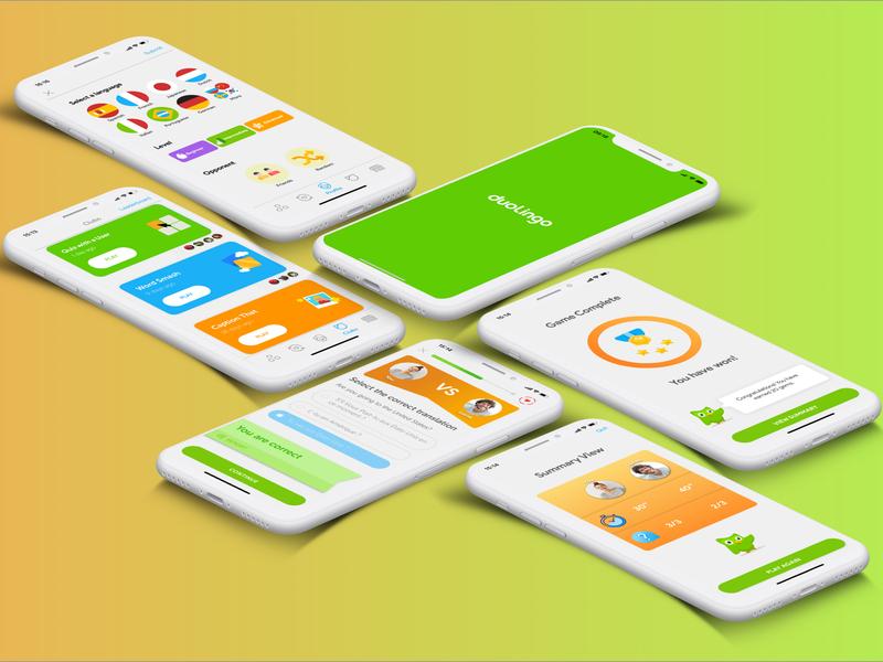 Duolingo Feature mockup visual design ux ui design app