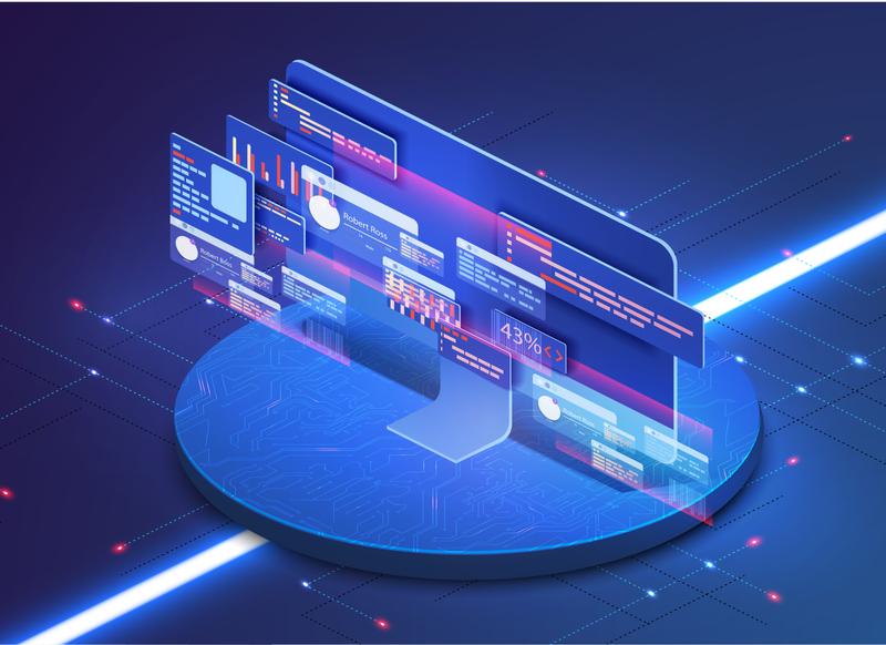 Application of PC with business graph,software development codig app dashboard analysis development code application program testing technology platform isometric digital cross computer coding api software