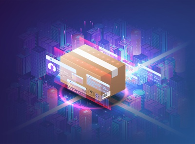 Concept of automatic logistics managemen. Cardboard box. City website futuristic service trace industry box ai delivery tech concept future digital system technology transport warehouse logistic city smart