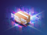 Concept of automatic logistics managemen. Cardboard box. City