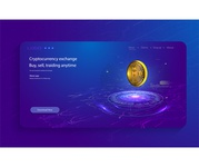 Bitcoin conceptual background with blue glowing electric lights