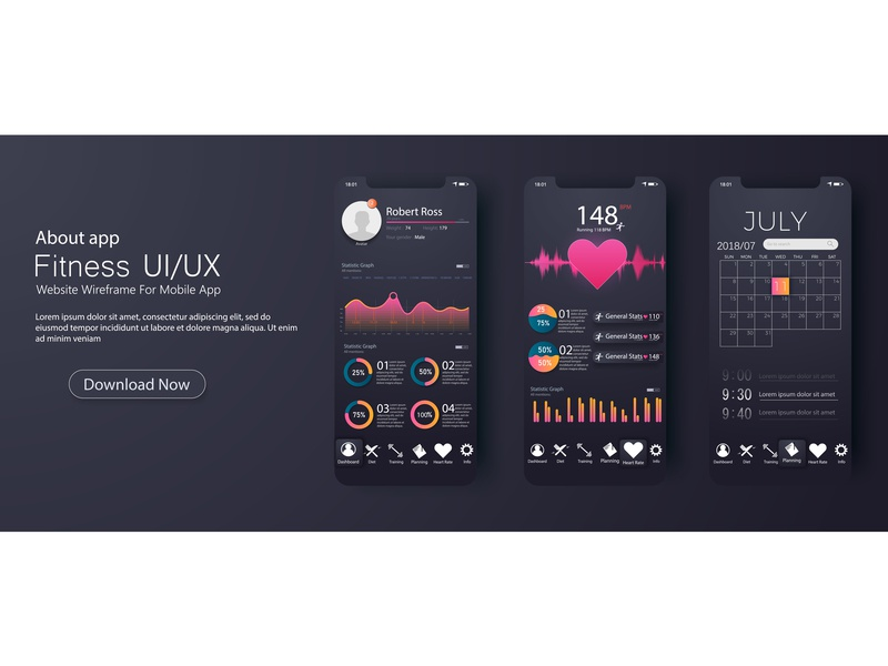 Fitness Activity Tracker Dashboard Ui Ux Design Mobile Template Android Heart Ios Ilration