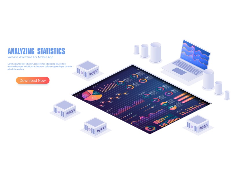 Infographic vector elements.Illustration of data financial graph infographic gradient data finance chart statistic graph design technology dashboard analytics analysis app ui education digital communication vector ai isometric