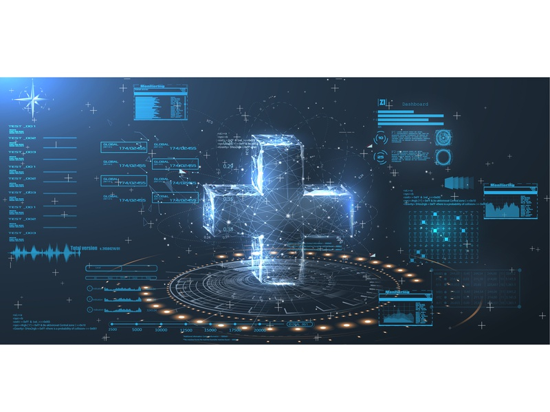 HUD UI for medical app. A hologram of a cross in style  low poly technology element hologram hud health graph futuristic future technology future dna display diagnostic demographics data dashboard cross care bar anatomy analysis
