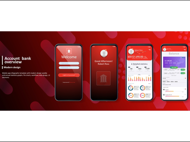 Banking app  UI Kit for responsive Mobile app activity bank card credit colorful 2019 best design trends panel mobile gui red kit interface dashboard analytics app ui analysis