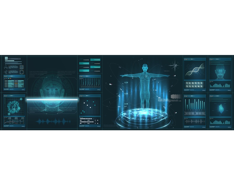 HUDelement ui medical examination.Human body scan analysis element digital transparent mri health human radiology dna hud brain body background augmented artificial intelligence abstract 3d ui medical futuristic