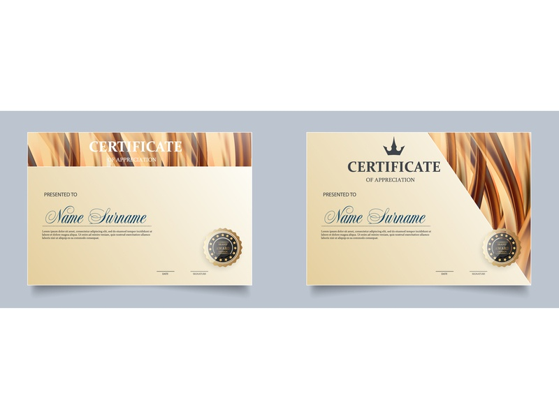 Certificate. Template diploma. completion company business border blank background appreciation award aesthetic seal luxury design antique achievement abstract landscape honor gold diploma certificate