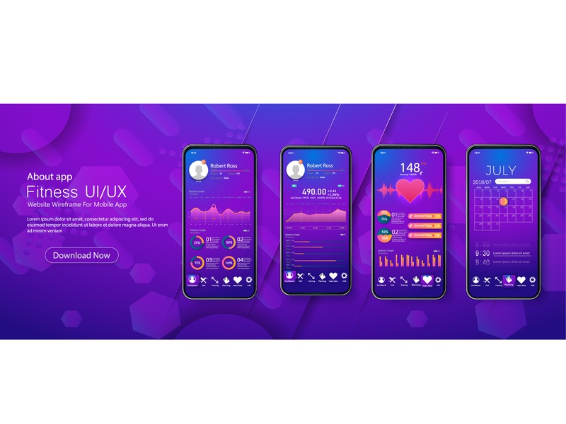 Different UI, UX, GUI screens fitness app design futuristic analytics analysis activity 3d screen flat gradient background medical interface health graph app mockup dashboard kit fitness ui