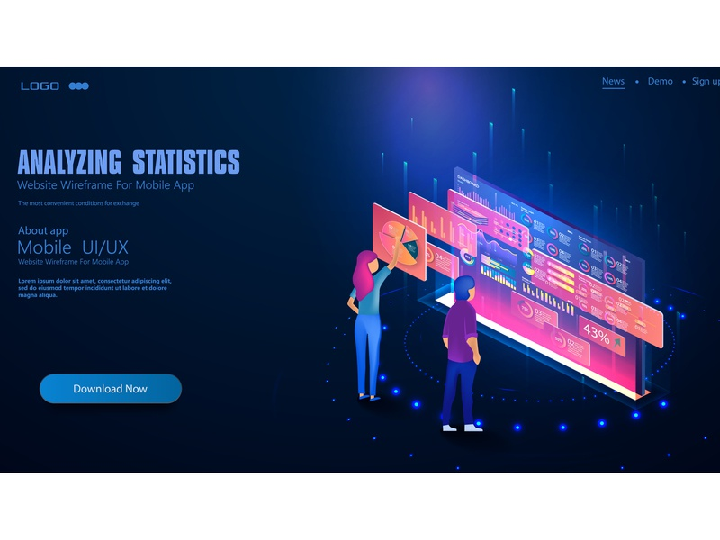 People in the team analyze dioramas and graphics graph ui abstract app platform trend interface technology futuristic dashboard design result system digital analysis graphic analytics isometric big data