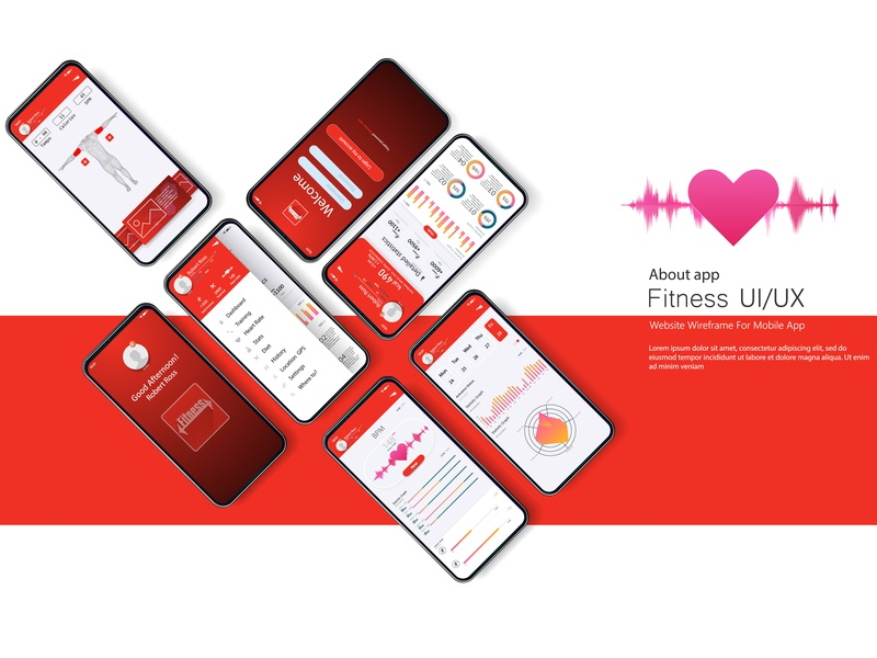 Different UI, UX, GUI screens fitness app smartphone mobile android run analysis trend screen flat gradient background medical interface health graph app mockup dashboard kit fitness ui