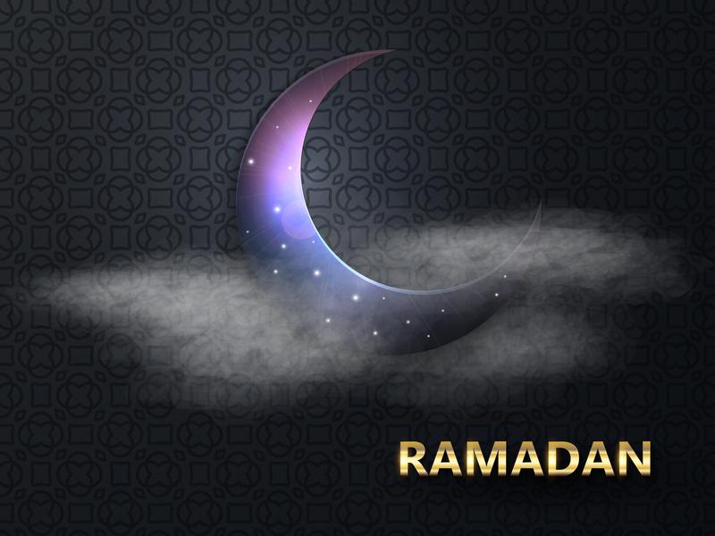 Muslim feast of the holy month of Ramadan Kareem.Full moon night arabian space illustration religious muslim ramazan mosque star dark lamp cloud lantern sky night light vector background islam moon ramadan