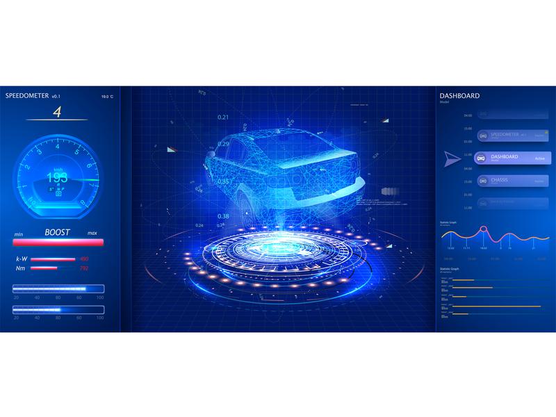 Car service app in the style of HUD. Futuristic user interface gui ui app speedometer panel engine automobile statistics speed dashboard vehicle technology interface digital hud data automotive game futuristic car