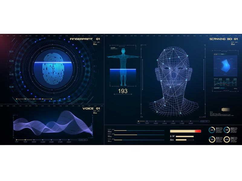 Biometric Identification or Recognition System of Person system data security future identity voice human set vector hud scan detection facial biometric digital person identification id recognition face