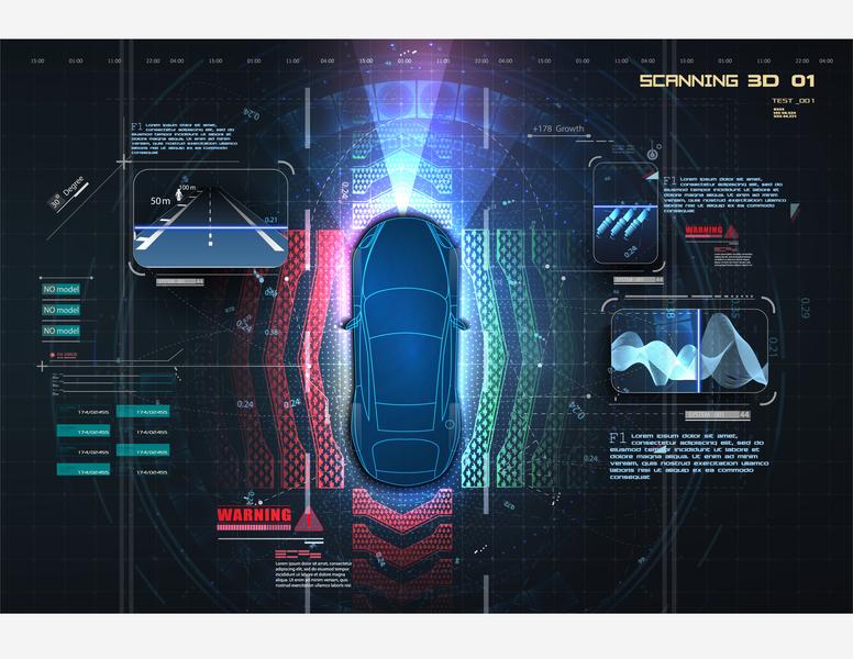 Concept for driver assistance systems. Smart car, HUD, UI, GUI technology smart drive autonomous system safety driverless futuristic game hud innovation digital automobile future automotive car screen interface design blueprints