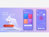 Different UI, UX, GUI screens fitness app and flat web icons